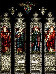Tamworth, Staffordshire, St. Editha's, St. George's chapel, north window (groenling) Tags: tamworth staffordshire staffs england britain greatbritain gb uk stedithas chapel stgeorgeschapel glass window stainedglass morrisco burnejones naomi ruth samuel king david harp mmiia