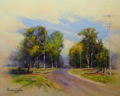 A Road Remembered (MikeC4503) Tags: art landscape painting michaelcawdrey acrylic road trees memory vignette
