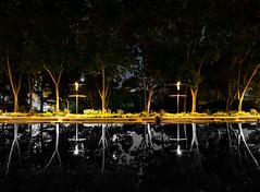 Along the Reflecting Pool (Parker Vandermeer) Tags: alberta blackandwhite canada city downtown edmonton legislaturegrounds night nopeople photoshop