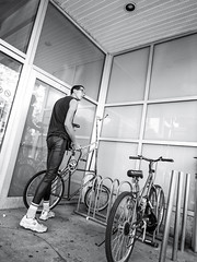 High-Rider (MomoFotografi) Tags: streetphotography bw bicycle fun tall zuiko mzuiko m43 micro 43 microfourthird street photographiederue grand velo bicyclette funny drole humour noiretblanc iso1600 montrea quebec city ville canada hochelaga est montrealest
