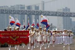 "Parade(Harumi, Tokyo) (seiji2012) Tags: 晴海 東京消防庁 行列 音楽隊 レインボーブリッジ 東京 tokyo tokyofiredepartment festival ""rainbow bridge flag"