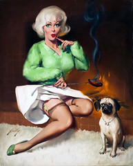 Burning the Dog by Donald Rust (gameraboy) Tags: donaldrust pinup pinupart illustration art vintage woman sexy burningthedog stockings thighhighs garterbelt skirt