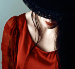 Regrets in Red (coollessons2004) Tags: red mystery mysterious emotive woman lips dress beauty beautiful portrait