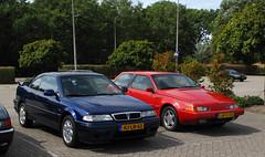 1994 Rover 220 Coupé & 1995 Volvo 480 S 2.0 (rvandermaar) Tags: hjln63 1994 rover 220 coupé 200 coupe rover220 rover200 rover200coupé rover220coupé sidecode5 1995 volvo 480 s 20 volvo480 volvo480s lbvj05 rvdm