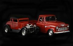 Duce & Pick-Up (Jo Zimny Photos) Tags: odc longshortofit ducecoup chevypickup red black chrome silver blackbackground vehicles truck duce lightbox