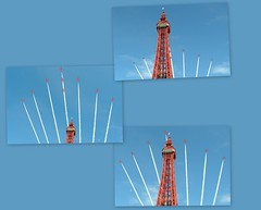 Thought I'd share my pics of the Red Arrows over Blackpool Tower (Tony Worrall) Tags: redarrows blackpool air aircraft display show event sky blue fly fighter jet fun airshow blackpooltower tower summer english buy stock sell trails pattern shapes