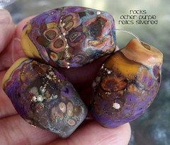 Rocks Ocher Purple Relics Silvered (Laura Blanck Openstudio) Tags: openstudio openstudiobeads glass murano handmade lampwork set beads jewelry rocks nuggets pebbles stones whimsical funky odd abstract asymmetric earthy organic colorful multicolor made usa fine arts art artisan artist etched matte opaque glow glowing frosted silvered sterling silver lilac lavender purple plum eggplant mauve violet ocher amber burnt umber maize orange sienna brick yellow copper green brown maroon orquid fuchsia suede mustard bohemian kaleidoscopic