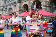 Edinburgh Fringe 2018 (johnawatson) Tags: edinburgh scotland festival edinburghfringe arts creative city urban street streetshot entertainment streetentertainment performers xf35mmf14r people colour streetart environmentalportrait portrait streetportrait person woman fujifilm rainbow f4 artist fujinon johnwatson highstreet coloured advertising summer fujifilmxpro2 groupofpeople stripes colours