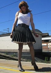 On the Platform (Amber :-)) Tags: black sunray pleated short skirt tgirl transvestite crossdressing