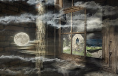 Inner landscape (Ladmilla) Tags: sl secondlife window landscape clouds cloud landscapes moon water sea room interiors brokenglass glass sky night ruin ruins deepmarsh deepmarshbythesea building buildings