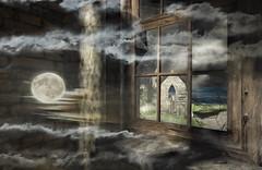 Inner landscape (Milla DelRay) Tags: sl secondlife window landscape clouds cloud landscapes moon water sea room interiors brokenglass glass sky night ruin ruins deepmarsh deepmarshbythesea building buildings