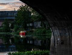 The Little Red Boat (Glenn Cartmill) Tags: riverbann portadown northernireland uk ireland nireland countyarmagh boat littleredboat redboat river county armagh underthebridge reflections outside august 2018 sony a7iii sonya7iii evening