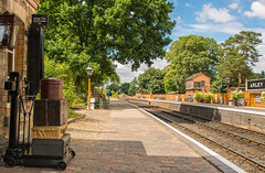 The Severn Valley Railway ( Arley Station) (williamrandle) Tags: arley worcestershire severnvalley uk england summer 2018 severnvalleyrailway railwaystation tracks bench fence buildings railwaybuildings trees tree bluesky clouds outdoor sunshine shade shadows nikon tamron2470mmf28 d7100