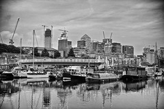 Canary Wharf (Massimo Usai) Tags: canadawater cityscape eastlondon england europe london londonist canarywharf riverthames boats port blackandwhite night light atmosphere building