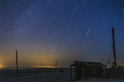 Perseid Meteor Shower Over An Abandoned Outhouse