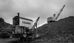 Threlkeld Quarry . (wayman2011) Tags: canon50dlightroom5 colinhart wayman2011 bw mono rural quarrys machinery excavator diggers cumbria lakedistrict threlkeld uk