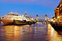 Silver Wind (Geoff Henson) Tags: ship cruiseship battleship mooring dock bridge london sky water river lights