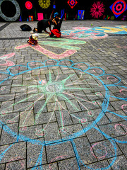 Scratching the Surface of NZ (Steve Taylor (Photography)) Tags: chalk family flower cap hat design cathedralsquare mural colourful contrast man woman child kid girl newzealand nz southisland canterbury christchurch city
