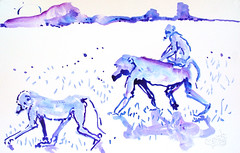 AFRICA TO THE NAKED 384 (eduard muntada) Tags: africa watercolors mountains monkeys sun light blue purple minimal