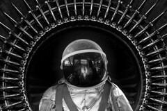 Major Tom to Ground Control... († David Gunter) Tags: navalaviationmuseumorg composite bw texture layered blackandwhite black white astronaut spaceman space spacesuit alteredreality