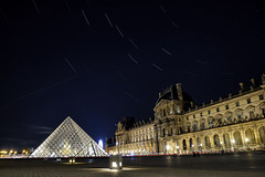 Le Louvre Startrail (Gwenael B) Tags: startrail paris louvre pyramid architecture building stars grandeourse longexposure stacked night nuit bynight france