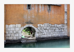 garden (overthemoon) Tags: france annecy hautesavoie houses pastel pastelcolours river backs oldtown frame doors windows