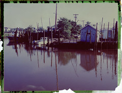 Belford Harbor (thereisnocat) Tags: polaroid polaroid195 fp100c negative reclaimed harbor boats reflection water belford middletown monmouthcounty newjersey nj