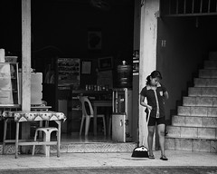 Not So Willing (Beegee49) Tags: street filipina sweeping bored restaurant bacolod city philippines