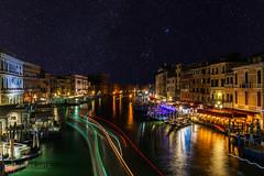 Venice Grand Canal from Rialto bridge (figatz) Tags: venice italy venezia rialto bridge sky stars veneto photography nikon tokina long exposure night travel astro beautiful trail traillights holidays d5300