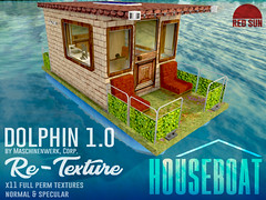 DOLPHIN 1.0 Re-Texture HOUSEBOAT (cuuka) Tags: cuuka red sun boat texture house bricks paint dolphin