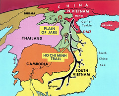 Vietnam War 1970 --- Map of the Ho Chi Minh Trail - Đường mòn HCM (manhhai) Tags: asia asianhistoricalevent battle cambodia historicevent hochiminhtrail laos map nobody northamericanhistoricalevent northvietnam southvietnam southeastasia unitedstateshistoricalevent vietnam vietnamwar19591975 vietnamesehistoricalevent war