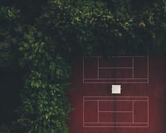 Let's play tennis (kubaszymik) Tags: tennis court park green red orange vertical aerial dji drone above poland silesia chorzów mavic pro colors trees