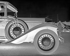 Vintage car profile (Howard Sandler (film photos)) Tags: car vintage classic wheel spare profile blackandwhite largeformat 4x5 hp5 xenar crowngraphic graflex negative