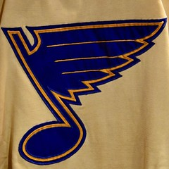 The First Note... (R.A. Killmer) Tags: red berenson blues blue note jersey sweater st louis nhl gold 1968 hockey ice expansion halloffame toronto