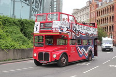 Ghost Bus Tours Ltd . London . CUV203C IMEX Roundabout , Waterloo , London . Sunday 12th-August-2018 . (AndrewHA's) Tags: london waterloo ghost bus tours aec routemaster park royal cuv203c classic tour secondhand londontransport rm 2203 opentop