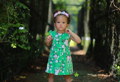 (cde1313) Tags: portrait girl walkway toddler green beginner flower flowers