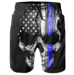 American Blue Line Flag Beach Shorts (mywowstuff) Tags: gifts gift ideas gadgets geeky products men women family home office