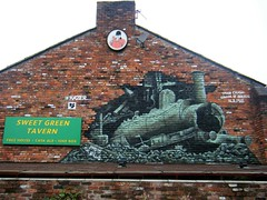 Street art, Bolton = train crash = SEE DESCRIPTION OF ACCIDENT (attached) (rossendale2016) Tags: ales cask free power red hot coke system fired coal boiler boil destination uncertain accident dangerous wreck railway rails powered steam engine thisphotorocks tavern green sweet house public pub wall art street depicting crash train lancashire manchester greater bolton