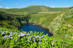 Lagoa Comprida (Long lake) - Azores Islands (Luca Quadrio) Tags: grass crater landscape nature landmark azores water lake hill portugal volcanic view blue atlantic tourism beautiful travel summer green comprida sky flores lagoon europe lagoa island