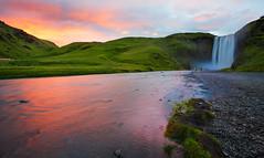 014_7417: Skógafoss, Iceland (Shawn-Yang) Tags: iceland islandia skogar skogarfoss waterfall cold northernmost cliffs rocks moss grass nature canon outdoor serene sunset