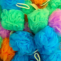 Colorful Cleaning (arbyreed) Tags: arbyreed colorful colors blue green orange pink bath shower cleaners mesh meshshowercleaners scrubbers body squareformat