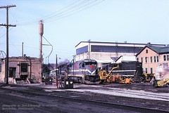 MGA 2302, Brownsville, PA. 4-18-1990 (jackdk) Tags: train railroad railway ge gelocomotive b237 b237r locomotive locomotiveshops shops engineterminal mga monongahela monongahelarailway emd emdgp38 emdgp382 gp38 gp382 standardcab