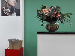 hair salon (maximorgana) Tags: bouquet flower fake green wall carrier bag box red salon hair