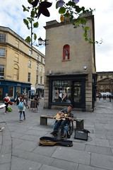 DSC_0029 (richardclarkephotos) Tags: simon john from cornwall guitar busking tour south england bath somerset uk spotty herberts signwriting guitarbitz cafe shops small retailers guildhall marketowl owls minerva