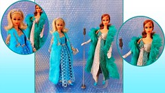 EVENING BLUES (ModBarbieLover) Tags: blue silver turquoise barbie francie mod mattel doll fashion vintage evening glitter sequins blonde titian boa dress fur 1971 1972