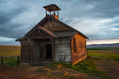 No iPhones in this class! (NW Vagabond) Tags: oneroom schoolhouse one room abandoned old eastern oregon prairie wheat field sunrise glow sun