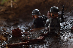 German Front (RagingPhotography) Tags: lego world war two 2 ii second outside outdoor outdoors german germany front line trench dirty muddy mud water filth filthy minifigures minifigs figures plastic toy toys ragingphotography