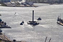 Falcon 9 nearing her berth (alloyjared) Tags: spacex falcon9 portcanaveral merahputih spacecoast florida jettypark helicopter aerialphotography floridaairtours