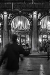 a short story about Caffe Florian (ignacy50.pl) Tags: citylife nightlights longexposure blackandwhite cityscape venice italy people building arches window cafe restaurant italiancoffe espresso