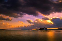 sunset 2609 (junjiaoyama) Tags: japan sunset sky light cloud weather landscape purple yellow pink orange contrast color bright lake island water nature summer reflection rays beams sunburst